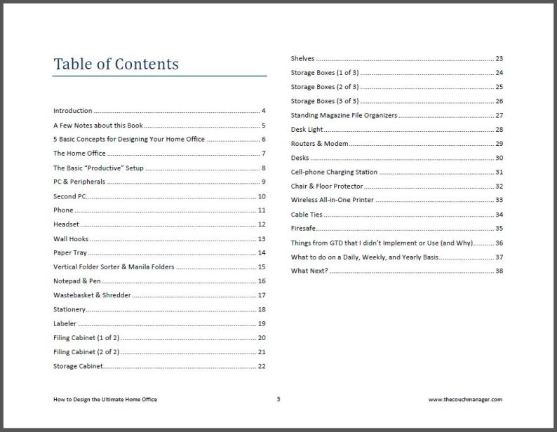 Table of Contents_How to design the ULTIMATE Home Office
